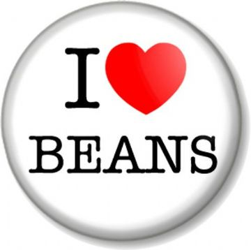I LOVE / HEART BEANS Pin Button Badge Baked Fart Humour Breakfast Funny Food and Drink